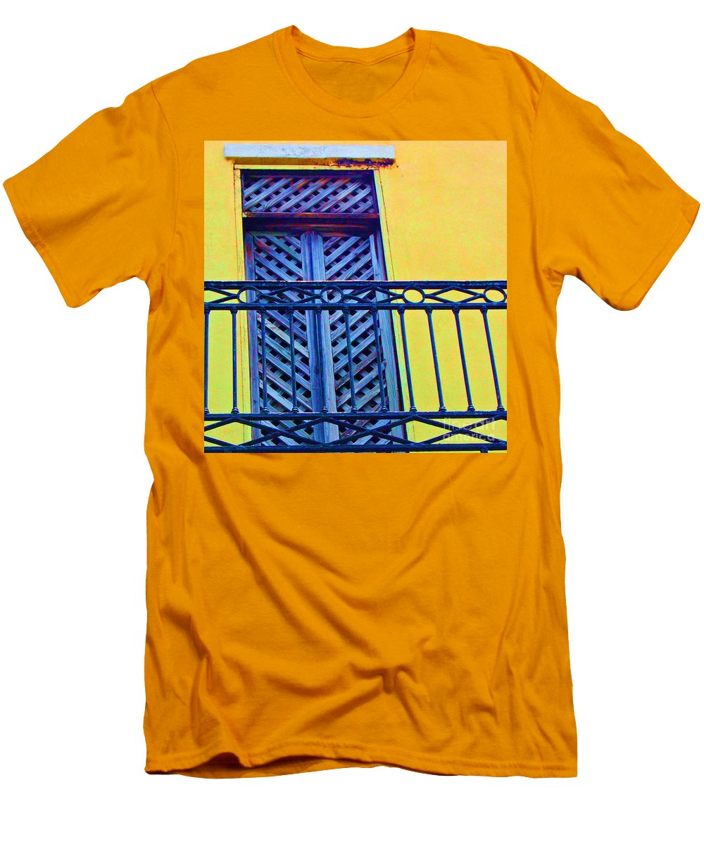 Balcony Men's T-Shirt (Athletic Fit) featuring the photograph On The Balcony by Debbi Granruth
