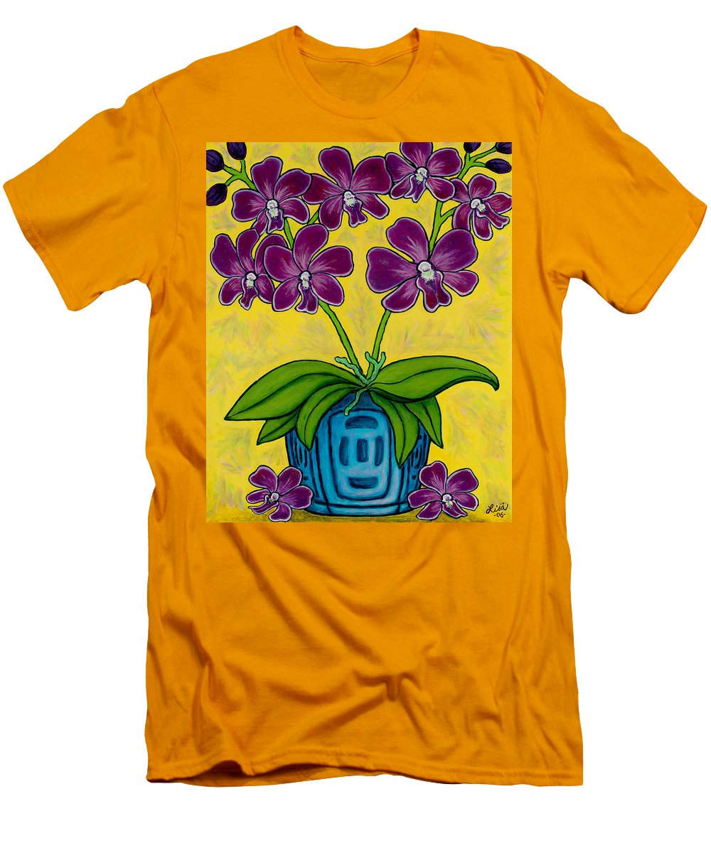 Orchids Men's T-Shirt (Athletic Fit) featuring the painting Orchid Delight by Lisa Lorenz