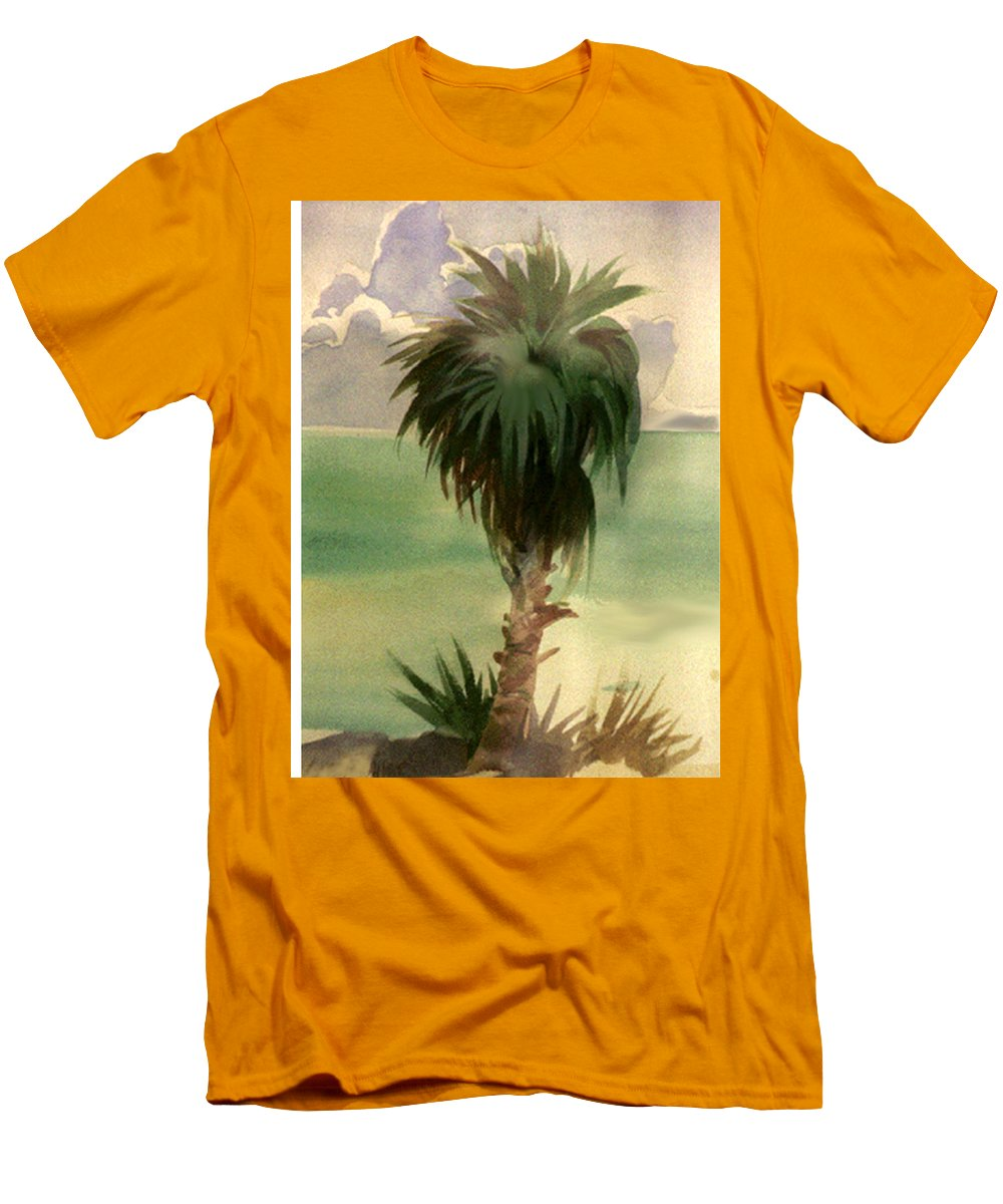 Palm Men's T-Shirt (Athletic Fit) featuring the painting Palm At Horseshoe Cove by Neal Smith-Willow