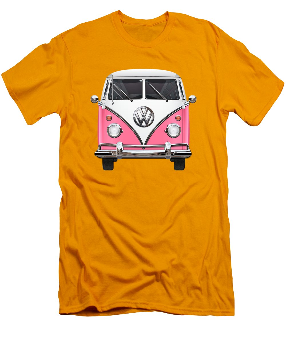 'volkswagen Type 2' Collection By Serge Averbukh Men's T-Shirt (Slim Fit) featuring the photograph Pink And White Volkswagen T 1 Samba Bus On Yellow by Serge Averbukh