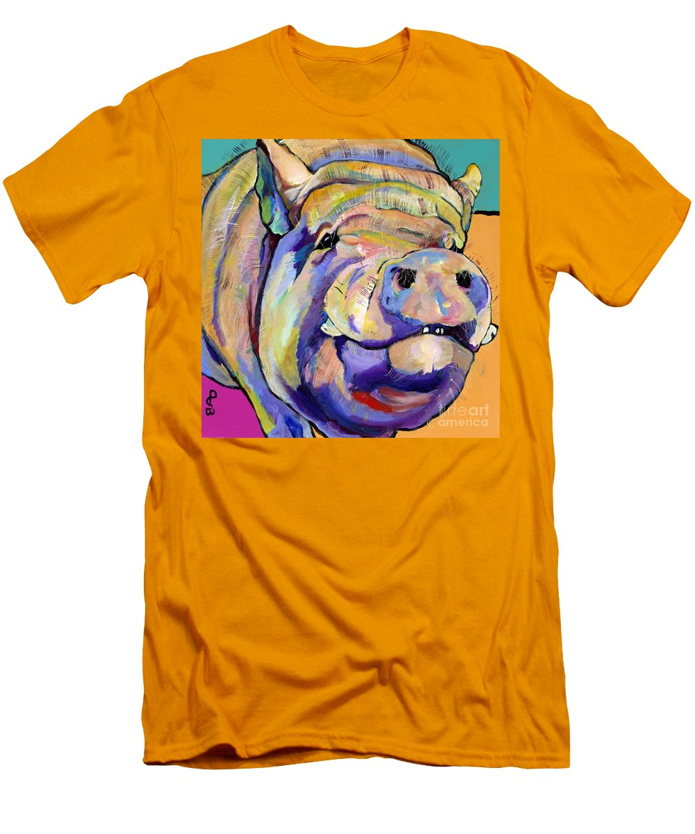 Pig Prints Men's T-Shirt (Athletic Fit) featuring the painting Potbelly by Pat Saunders-White