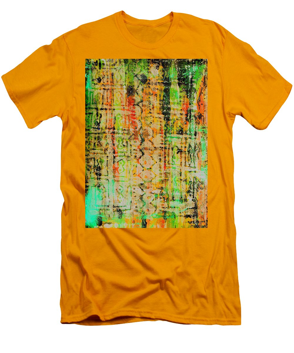 Monoprint Men's T-Shirt (Athletic Fit) featuring the painting Remnants Of The Homeland by Wayne Potrafka