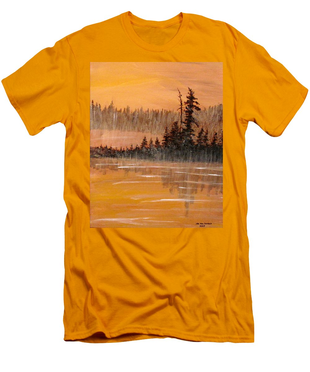 Northern Ontario Men's T-Shirt (Athletic Fit) featuring the painting Rock Lake Morning 3 by Ian MacDonald