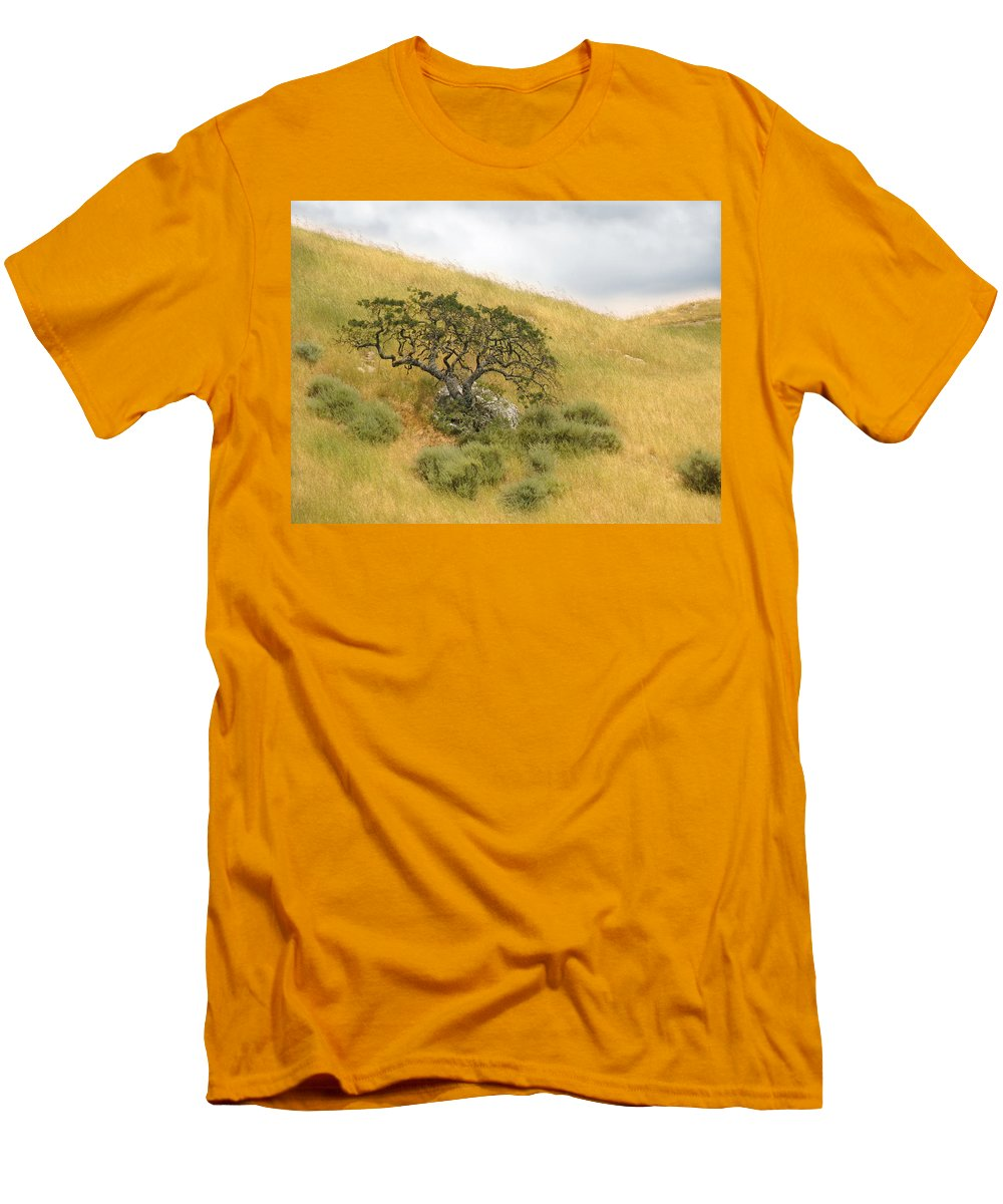 Landscape Men's T-Shirt (Athletic Fit) featuring the photograph Sage Under Oak by Karen W Meyer