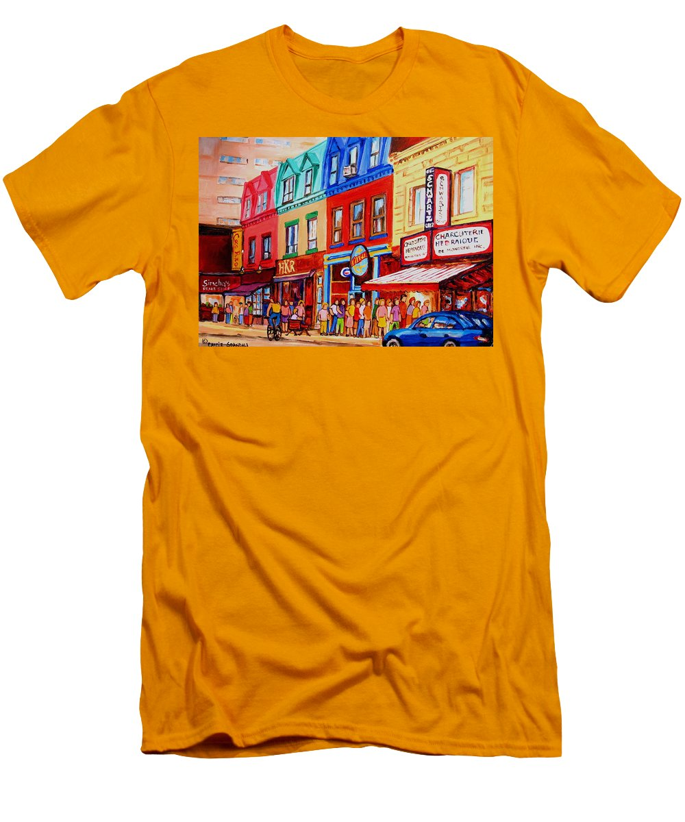 Cityscape Men's T-Shirt (Athletic Fit) featuring the painting Schwartz Lineup With Simcha by Carole Spandau