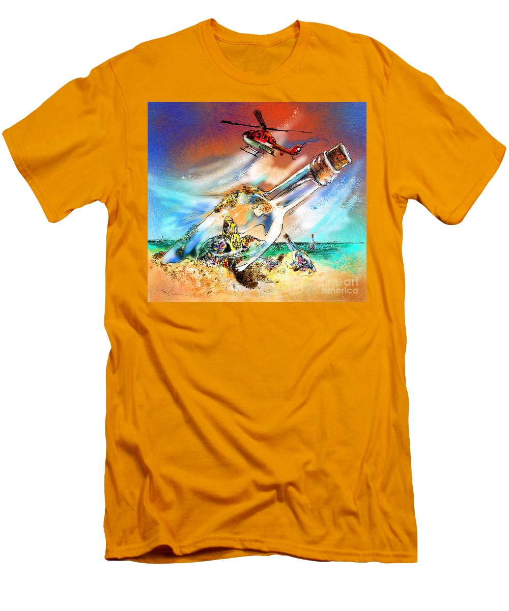 Turtles Men's T-Shirt (Athletic Fit) featuring the painting Sos To The World by Miki De Goodaboom