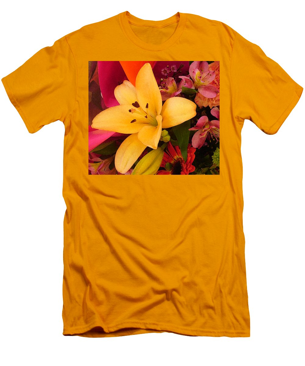 Lily Men's T-Shirt (Athletic Fit) featuring the painting Spring Lily Bouquet by Amy Vangsgard