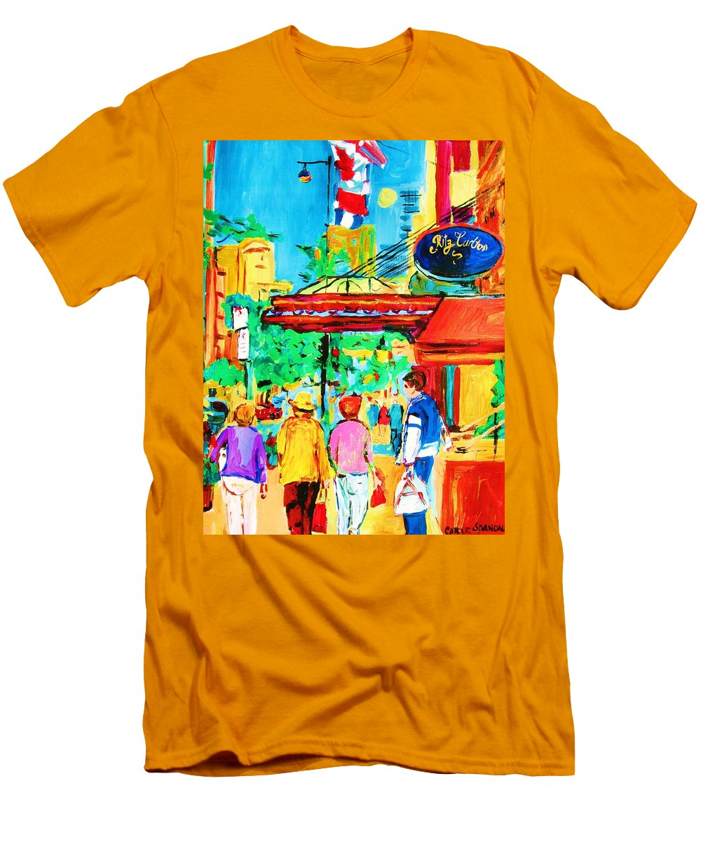 Paintings Of The Ritz Carlton On Sherbrooke Street Montreal Art Men's T-Shirt (Athletic Fit) featuring the painting Springtime Stroll by Carole Spandau