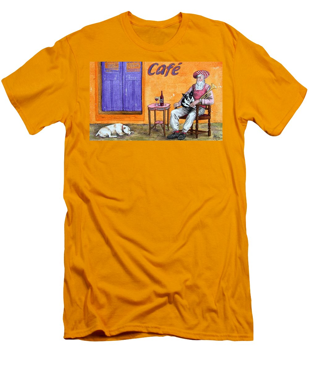 Music Men's T-Shirt (Athletic Fit) featuring the painting Still Life With Dogs And Music by Gale Cochran-Smith