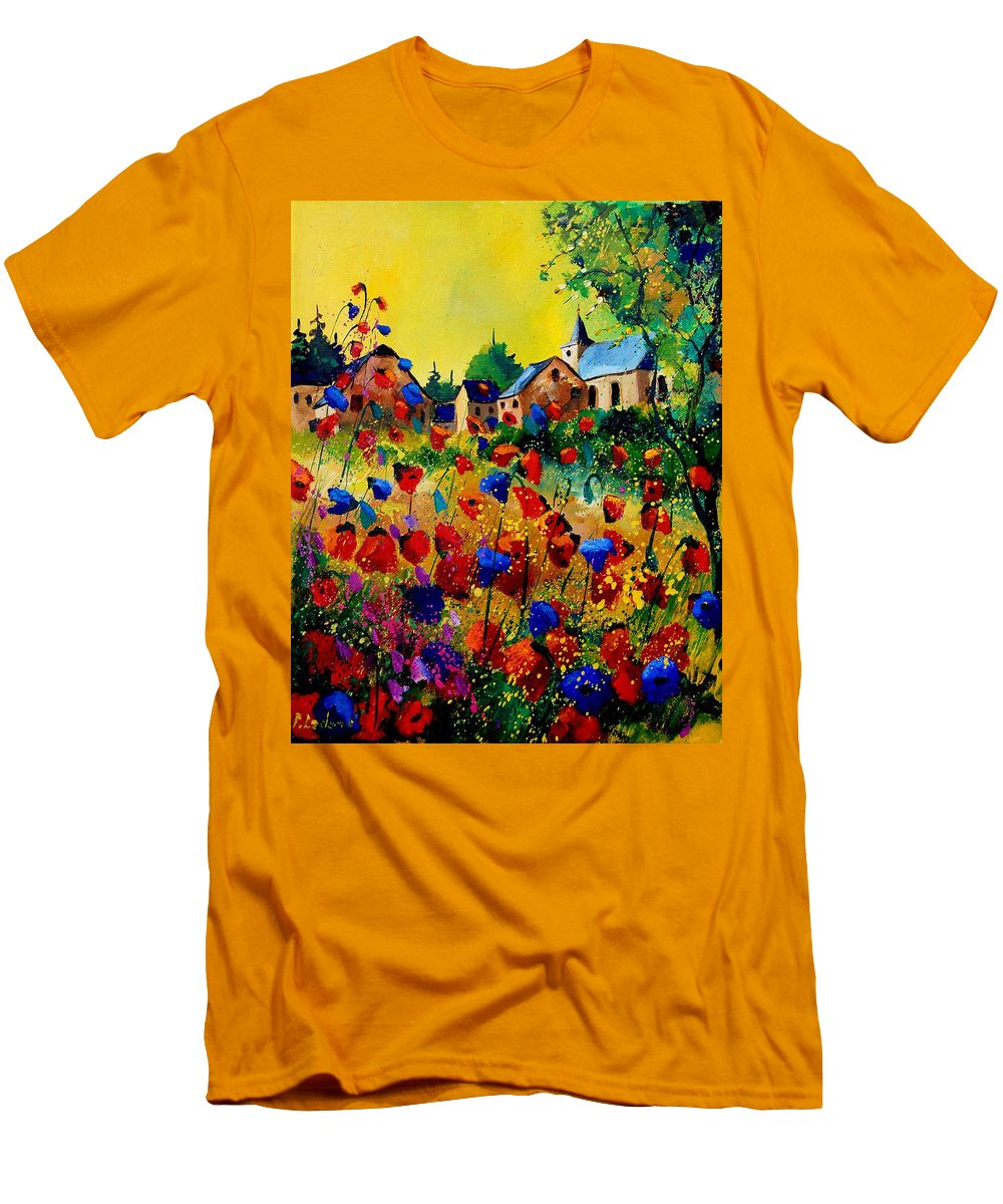 Poppy Men's T-Shirt (Athletic Fit) featuring the painting Summer In Sosoye by Pol Ledent
