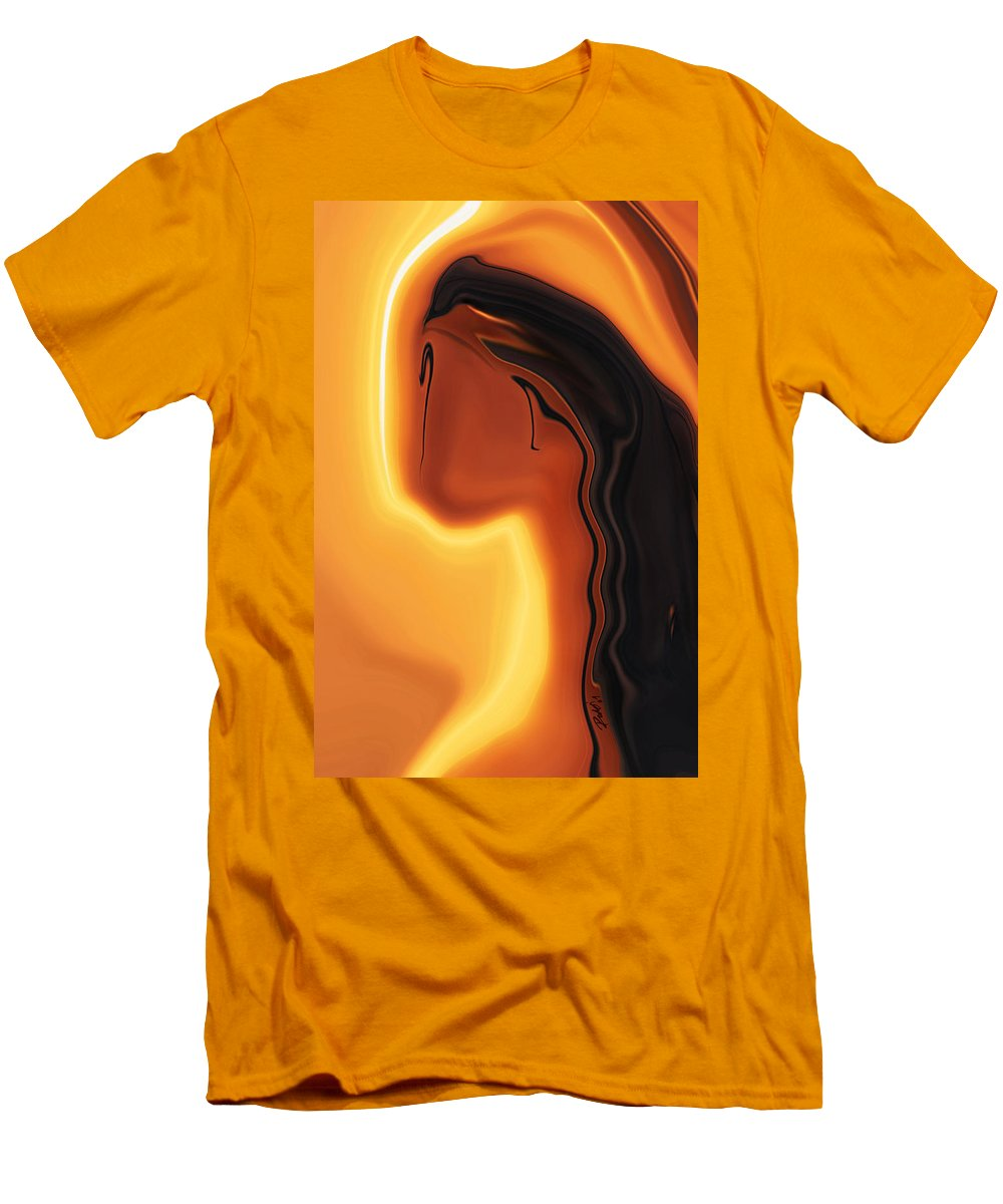 Art Black Copper Faminist Feminism Girl Glory Khan Kissed Mother Orrange Rabi Sun Wall Womanhood Wom Men's T-Shirt (Athletic Fit) featuring the digital art Sun-kissed by Rabi Khan