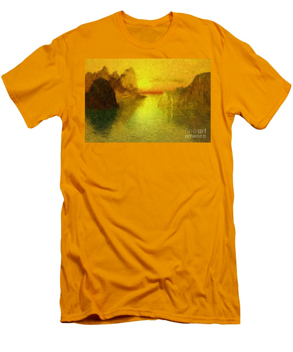 Nature Men's T-Shirt (Athletic Fit) featuring the digital art Sunrise by David Lane