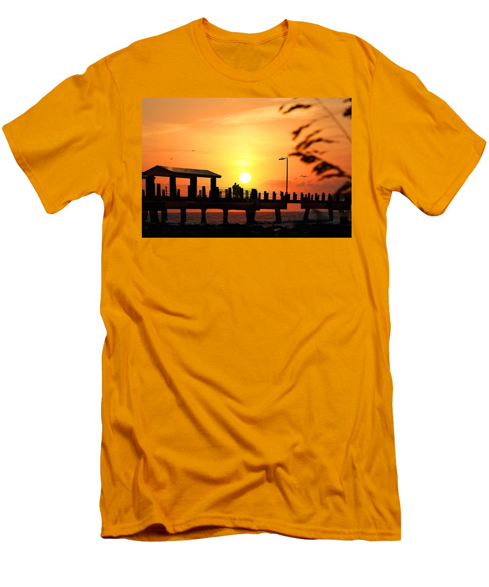 Fort De Soto Men's T-Shirt (Athletic Fit) featuring the photograph Sunset At Fort De Soto Fishing Pier Pinellas County Park St. Petersburg Florida by Mal Bray