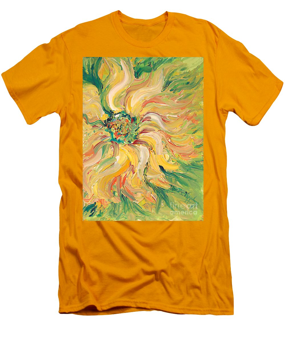 Texture Men's T-Shirt (Athletic Fit) featuring the painting Textured Green Sunflower by Nadine Rippelmeyer