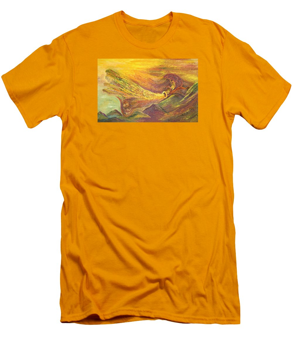 Autumn Men's T-Shirt (Athletic Fit) featuring the painting The Autumn Music Wind by Karina Ishkhanova