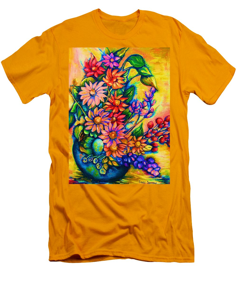 Beautiful Flowers.floral Bouquet Men's T-Shirt (Athletic Fit) featuring the painting The Flower Dance by Carole Spandau