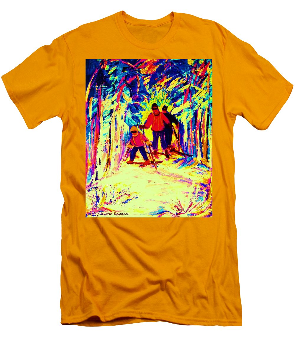 Skis Men's T-Shirt (Athletic Fit) featuring the painting The Magical Skis by Carole Spandau
