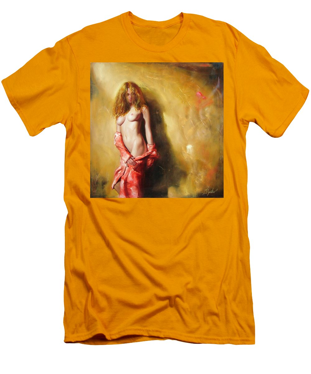 Art Men's T-Shirt (Athletic Fit) featuring the painting The Sun In Red by Sergey Ignatenko