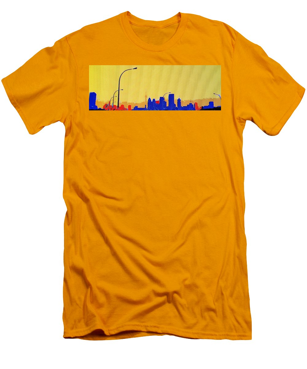 Toronto Men's T-Shirt (Athletic Fit) featuring the photograph Toronto Lemon Skyline by Ian MacDonald