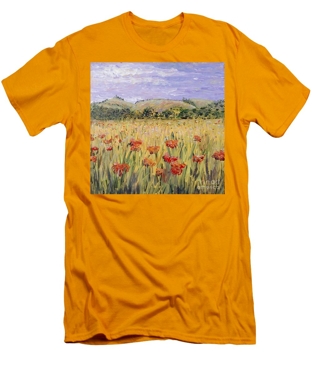 Poppies Men's T-Shirt (Athletic Fit) featuring the painting Tuscany Poppies by Nadine Rippelmeyer