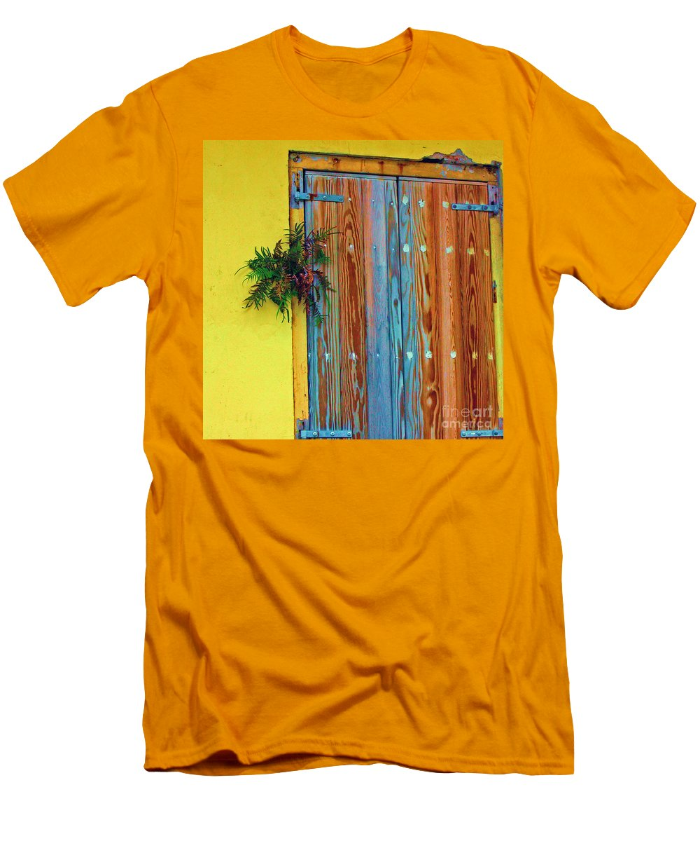 Door Men's T-Shirt (Athletic Fit) featuring the photograph Twisted Root by Debbi Granruth
