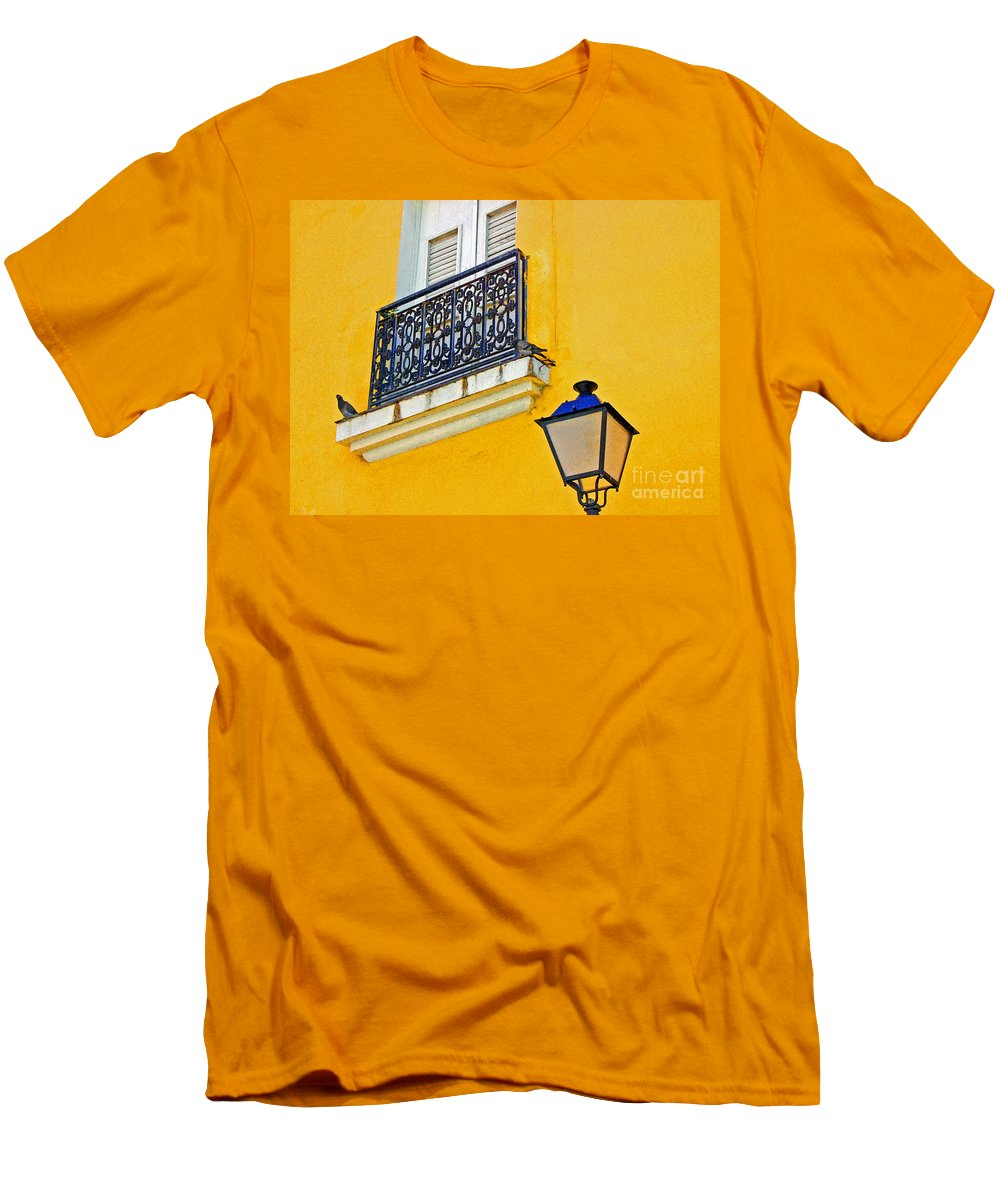 Pigeon Men's T-Shirt (Athletic Fit) featuring the photograph Yellow Building by Debbi Granruth