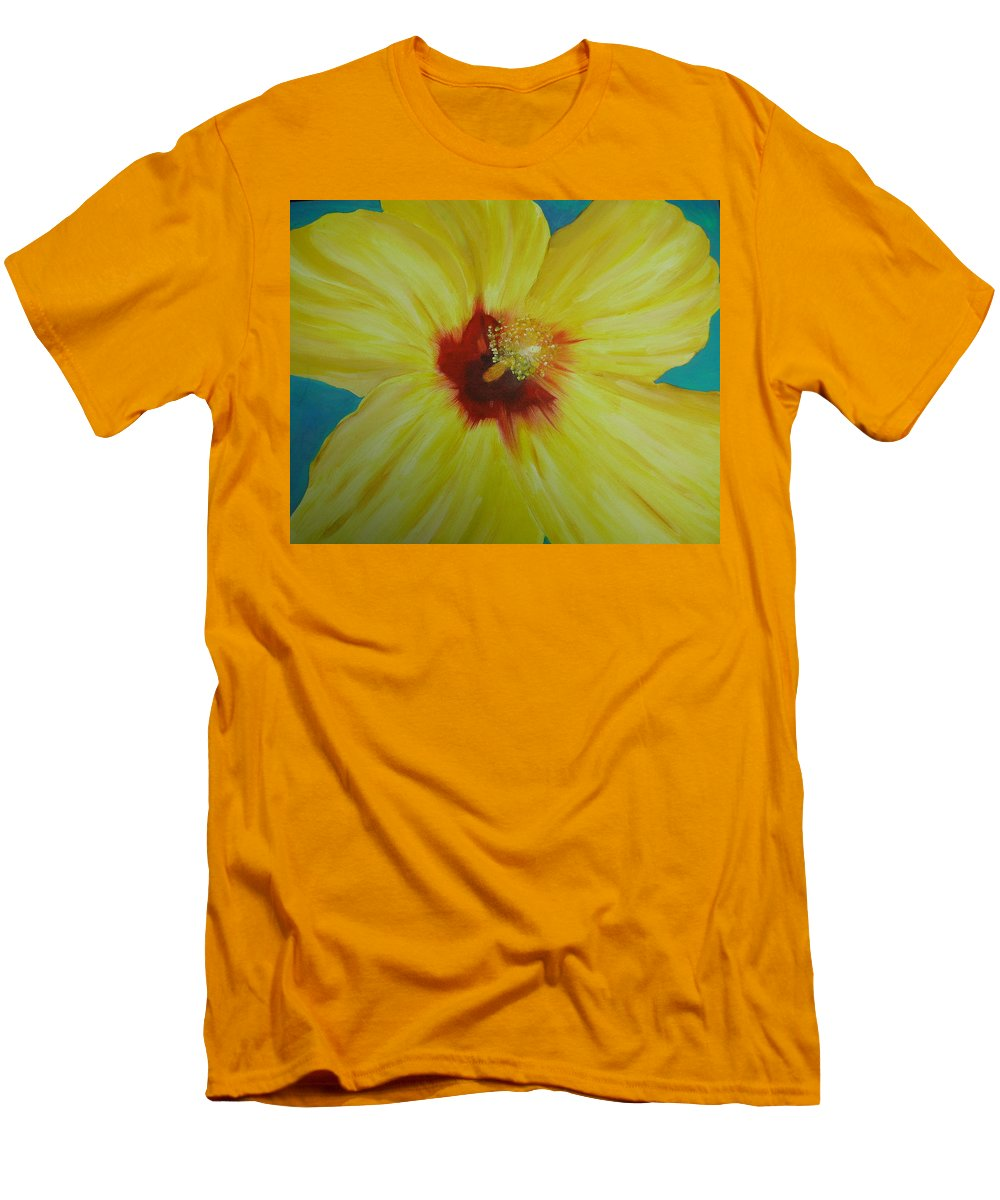 Flower Men's T-Shirt (Athletic Fit) featuring the print Yellow Hibiscus by Melinda Etzold