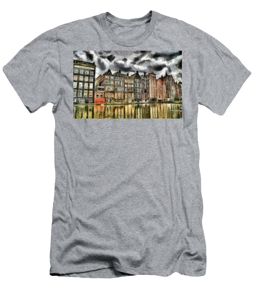 Coffee Shop Men's T-Shirt (Athletic Fit) featuring the painting Amsterdam Water Canals by Georgi Dimitrov