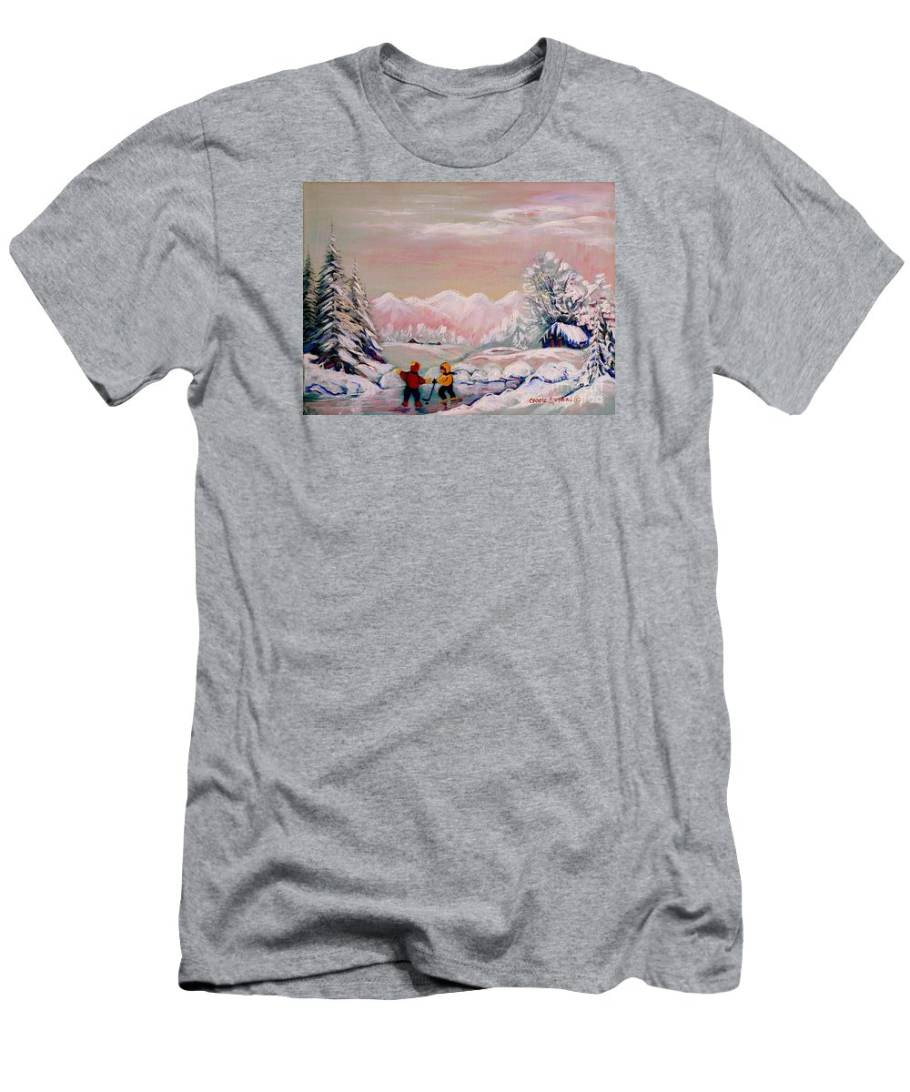 Beautiful Winter Fairytale Men's T-Shirt (Athletic Fit) featuring the painting Beautiful Winter Fairytale by Carole Spandau