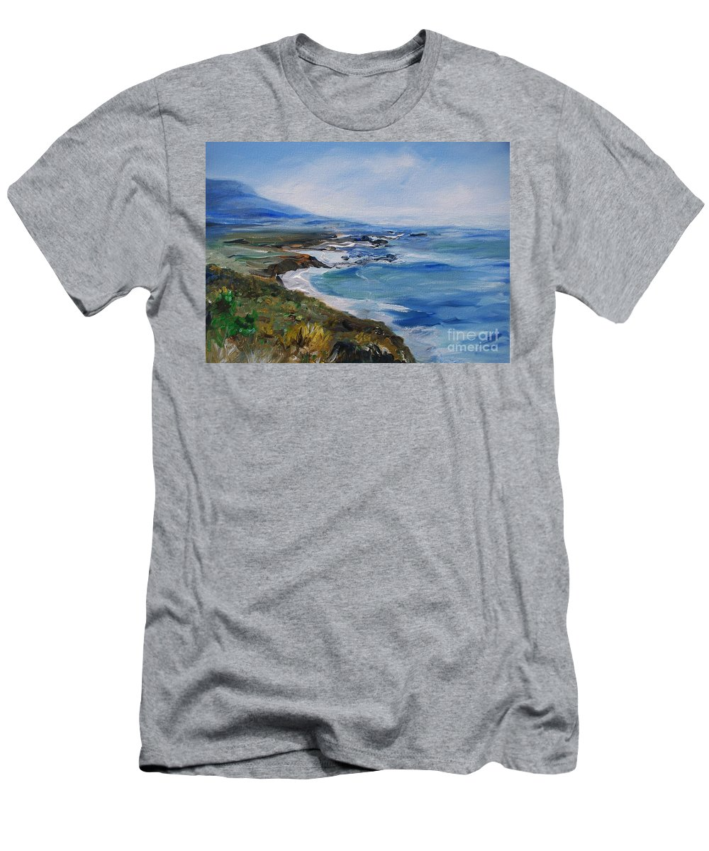 California Coast Men's T-Shirt (Athletic Fit) featuring the painting Big Sur Coastline by Eric Schiabor