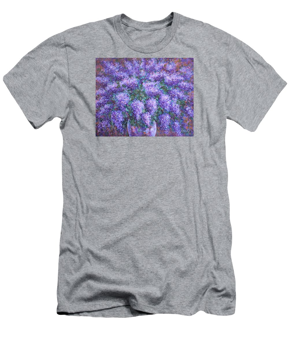Flowers Men's T-Shirt (Athletic Fit) featuring the painting Scented Lilacs Bouquet by Natalie Holland
