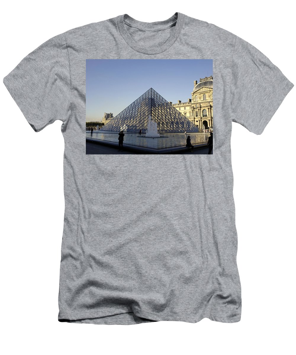 Paris Men's T-Shirt (Athletic Fit) featuring the photograph The Glass Pyramid Of The Musee Du Louvre In Paris France by Richard Rosenshein