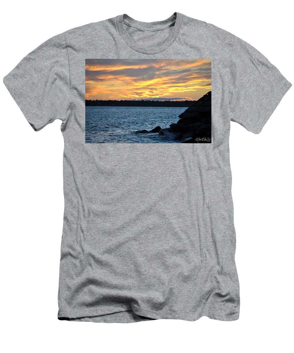 Sunset Men's T-Shirt (Athletic Fit) featuring the photograph 001 Awe In One Sunset Series At Erie Basin Marina by Michael Frank Jr