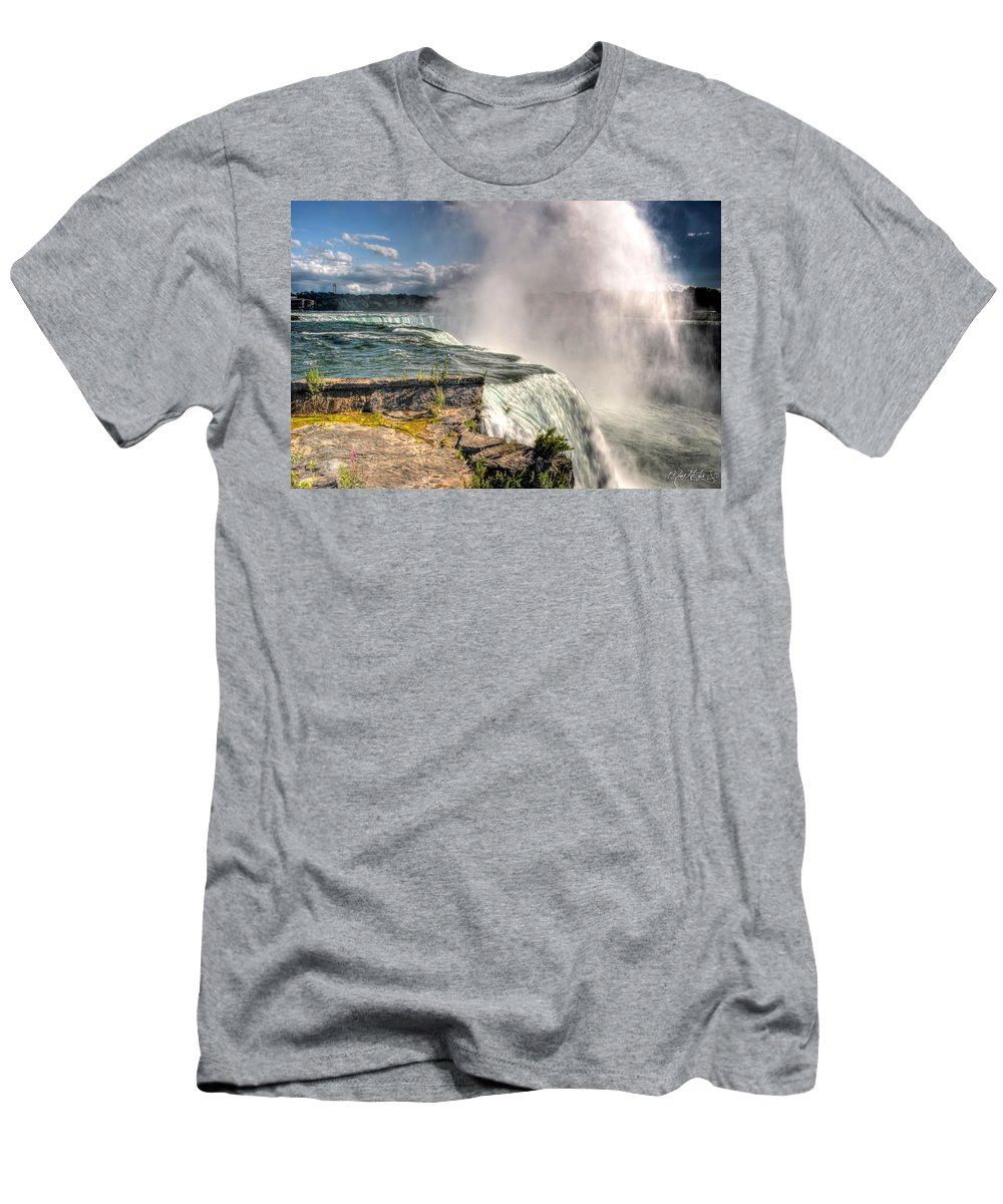 Niagara Falls Men's T-Shirt (Athletic Fit) featuring the photograph 0011 Niagara Falls Misty Blue Series by Michael Frank Jr