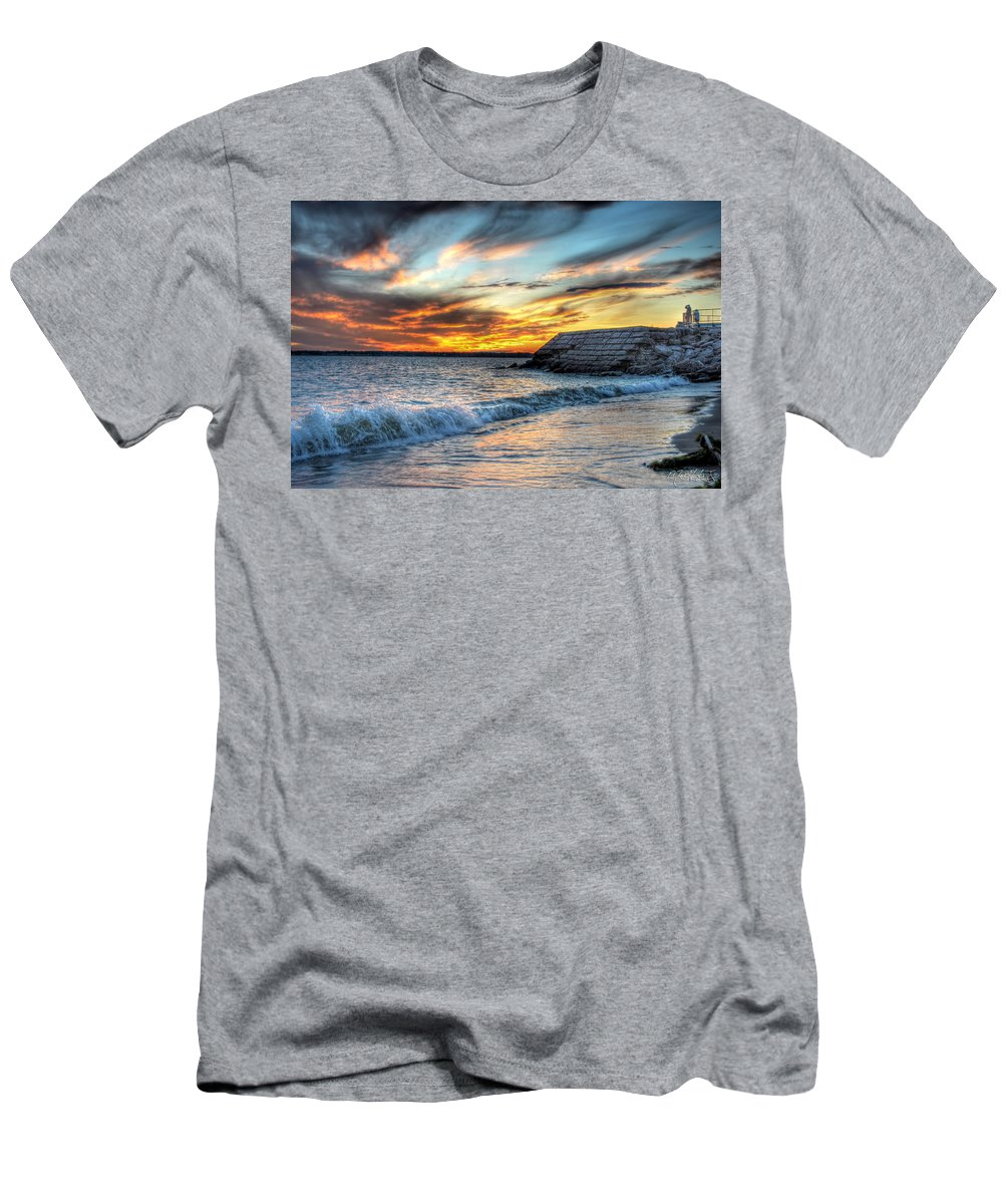 Sunset Men's T-Shirt (Athletic Fit) featuring the photograph 0016 Awe In One Sunset Series At Erie Basin Marina by Michael Frank Jr