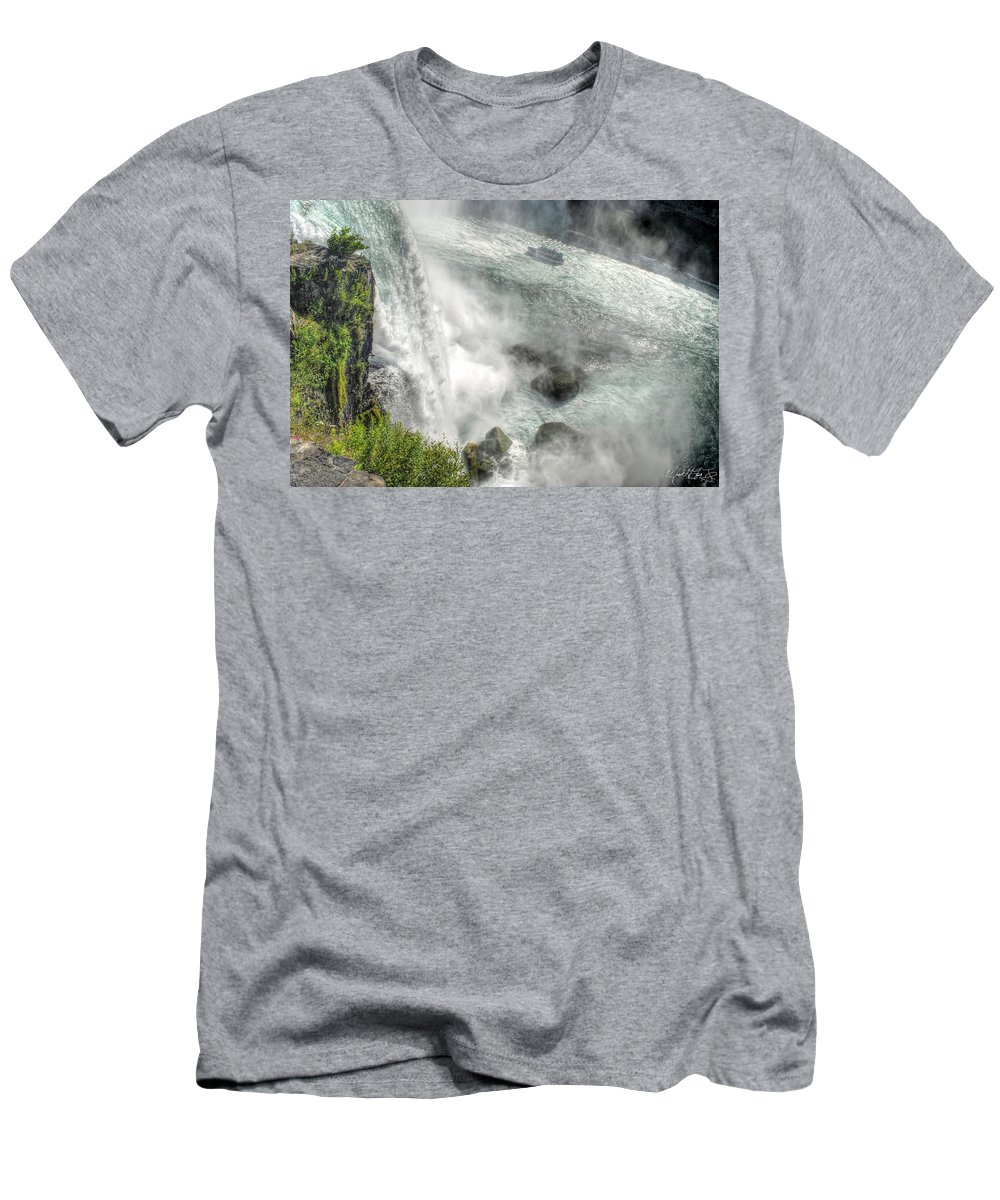 Niagara Falls Men's T-Shirt (Athletic Fit) featuring the photograph 003 Niagara Falls Misty Blue Series by Michael Frank Jr