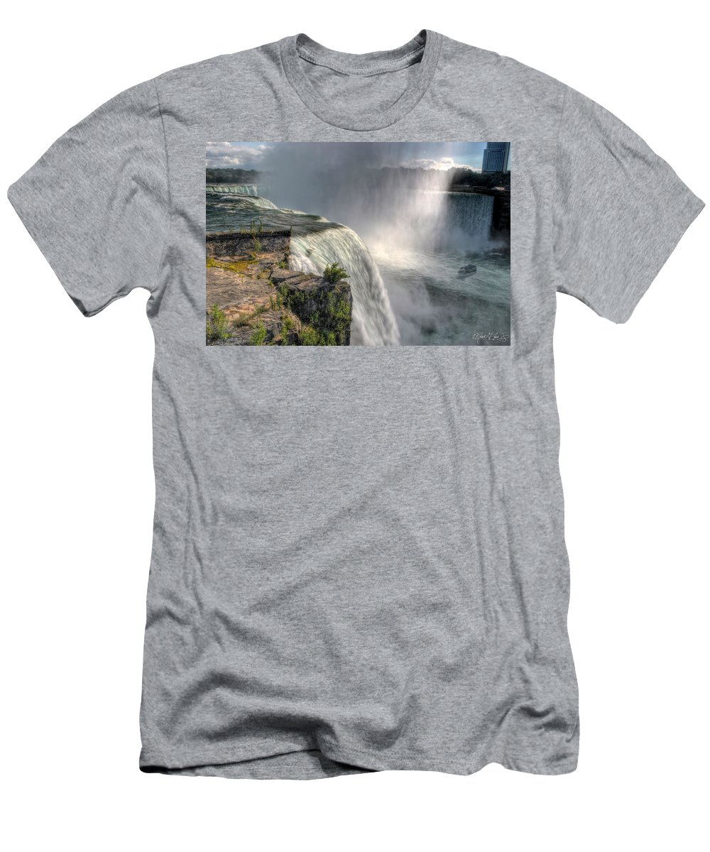 Niagara Falls Men's T-Shirt (Athletic Fit) featuring the photograph 007 Niagara Falls Misty Blue Series by Michael Frank Jr