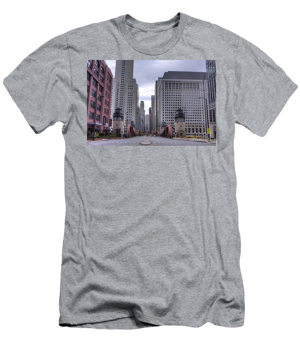 Chicago Men's T-Shirt (Athletic Fit) featuring the photograph 0500 Lasalle Street Bridge Chicago by Steve Sturgill