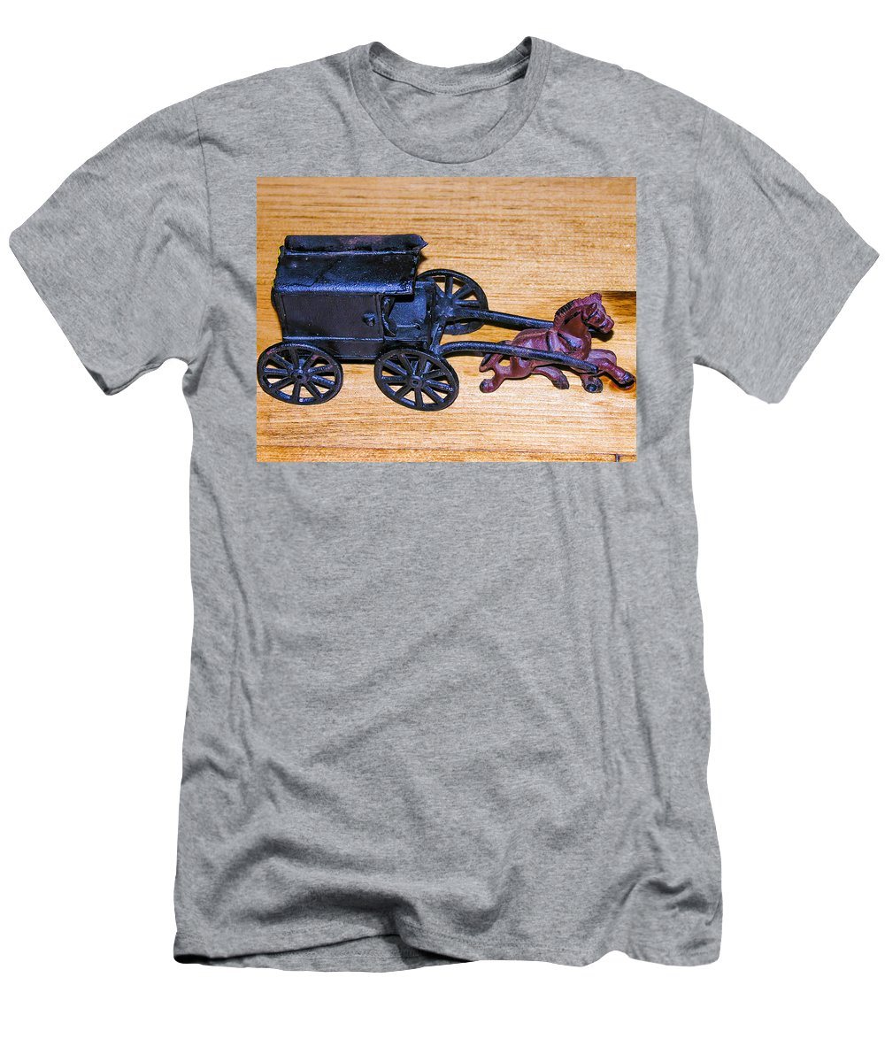 Cast Iron Horse And Buggy Men's T-Shirt (Athletic Fit) featuring the photograph Antique Cast Iron Toy by Sherman Perry