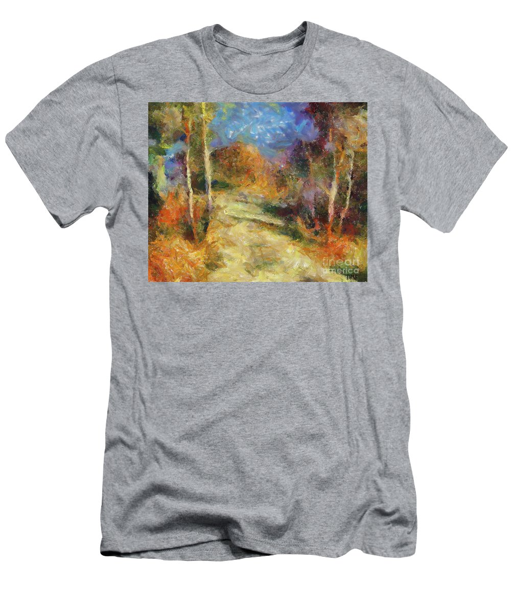 Landscapes Men's T-Shirt (Athletic Fit) featuring the painting Autumn Colors by Dragica Micki Fortuna