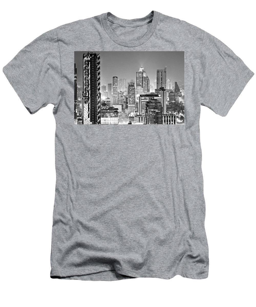 Aerial Men's T-Shirt (Athletic Fit) featuring the photograph Bangkok Skyline - Thailand by Luciano Mortula