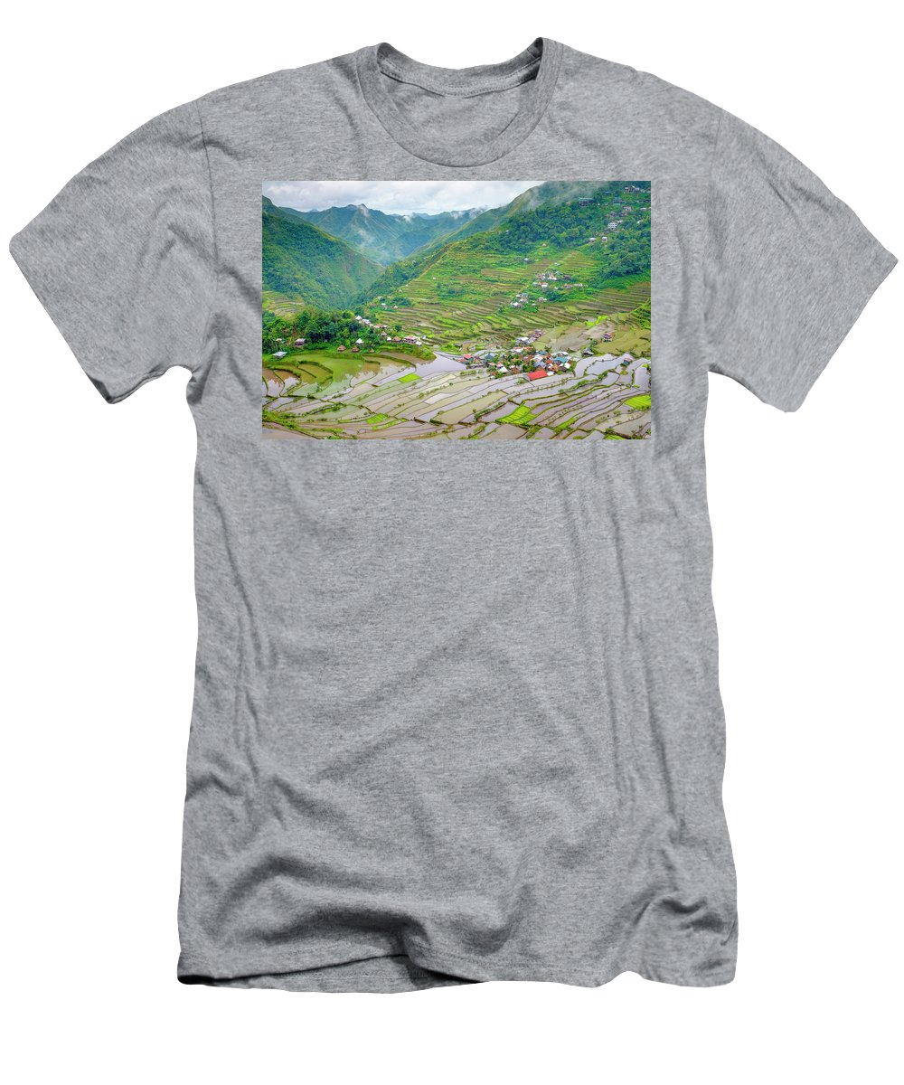 Water Men's T-Shirt (Athletic Fit) featuring the photograph Batad Village And Unesco World Heritage by Jason Langley