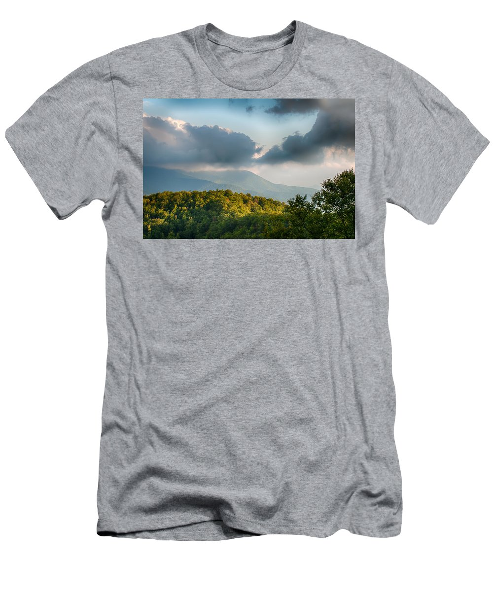 Mountains Men's T-Shirt (Athletic Fit) featuring the photograph Blue Ridge Parkway Scenic Mountains Overlook Summer Landscape by Alex Grichenko