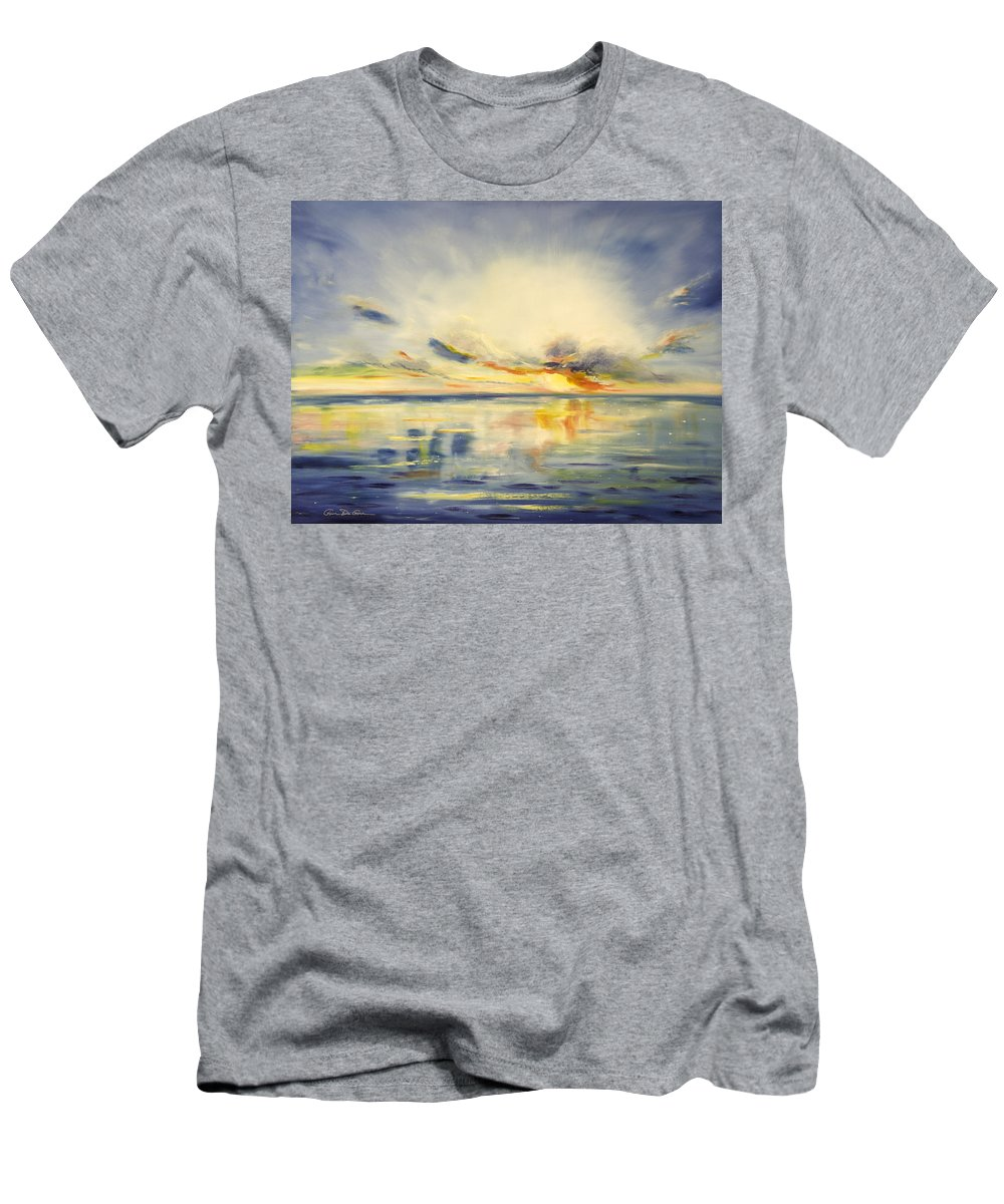 Blue Men's T-Shirt (Athletic Fit) featuring the painting Blue Sunset by Gina De Gorna