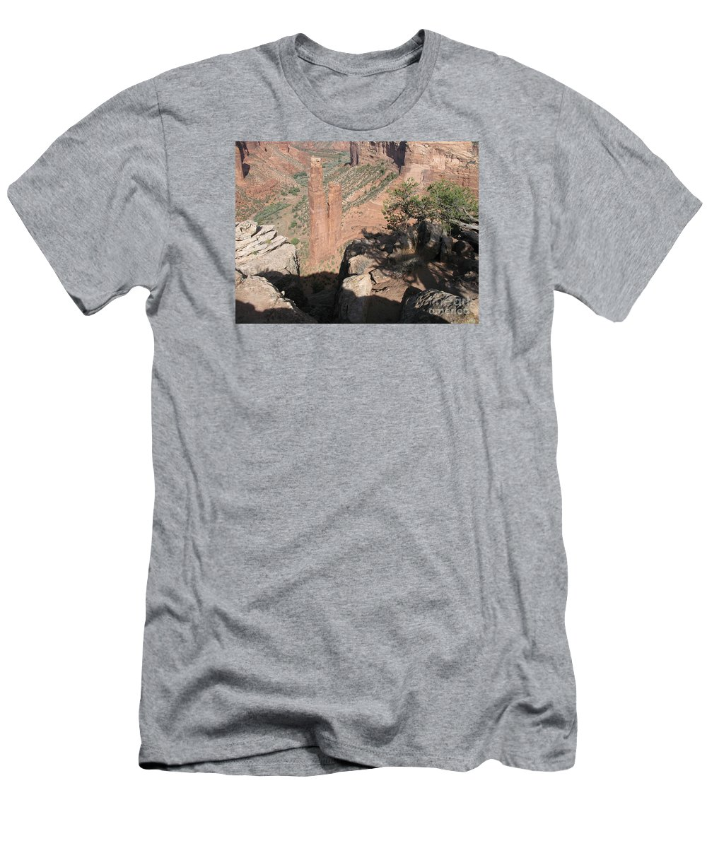 Canyon Men's T-Shirt (Athletic Fit) featuring the photograph Canyon De Chelly Spider Rock by Christiane Schulze Art And Photography