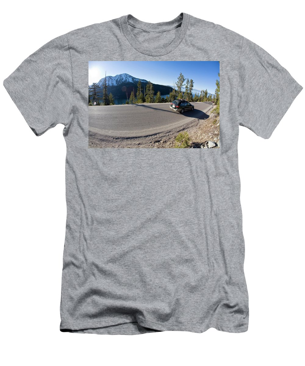 Blur Men's T-Shirt (Athletic Fit) featuring the photograph Cars Driving Along Hwy 89 Over Emerald by Justin Bailie