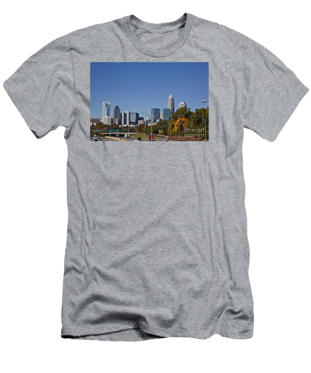 Skyline Men's T-Shirt (Athletic Fit) featuring the photograph Charlotte Skyline by Jill Lang