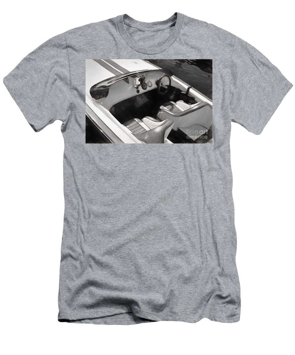 Interior Men's T-Shirt (Athletic Fit) featuring the photograph Classic Boat In Black And White by Les Palenik