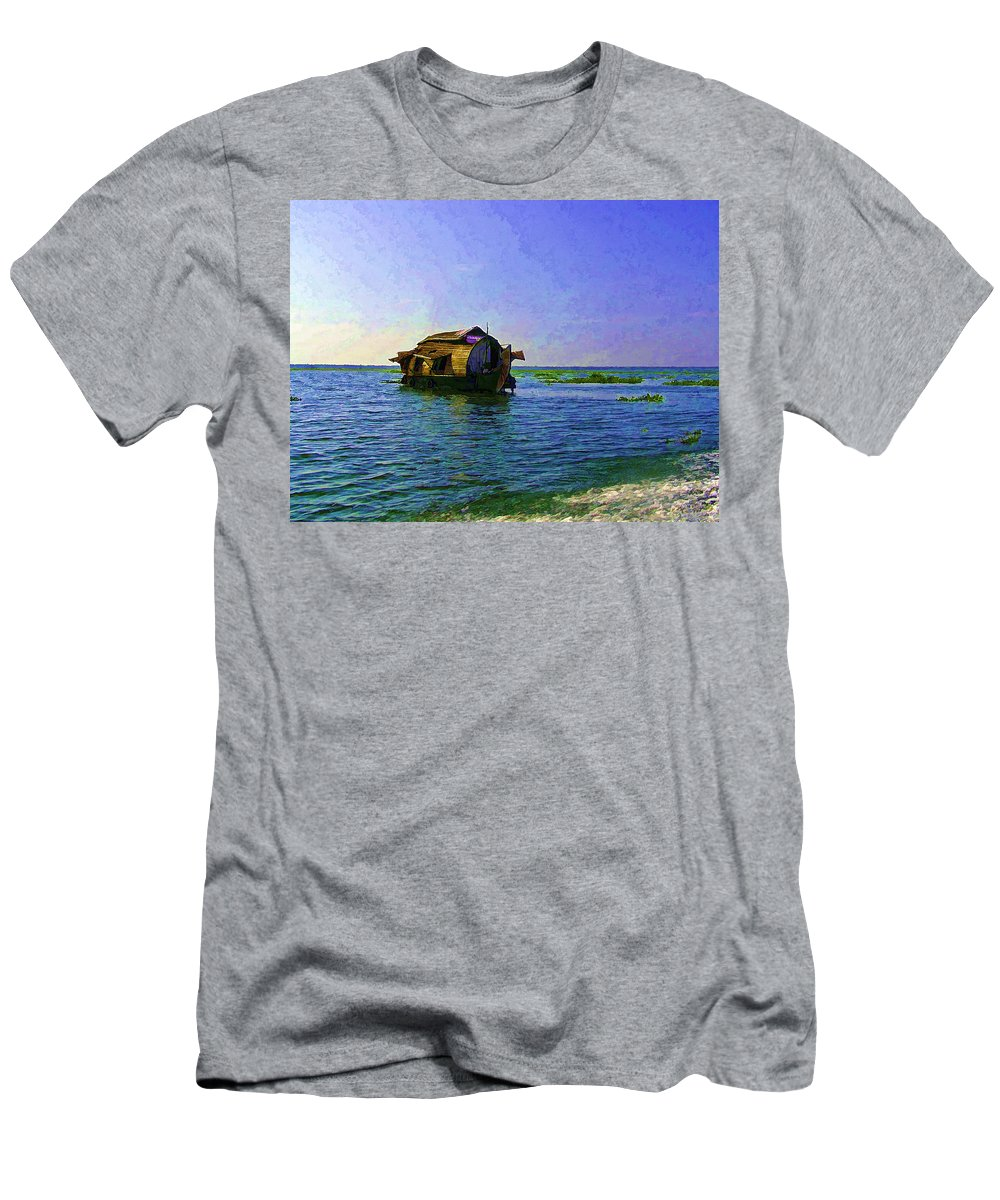 Backwater Men's T-Shirt (Athletic Fit) featuring the photograph Digital Oil Painting - A Houseboat Moving Placidly Through A Coastal Lagoon In Alleppey by Ashish Agarwal