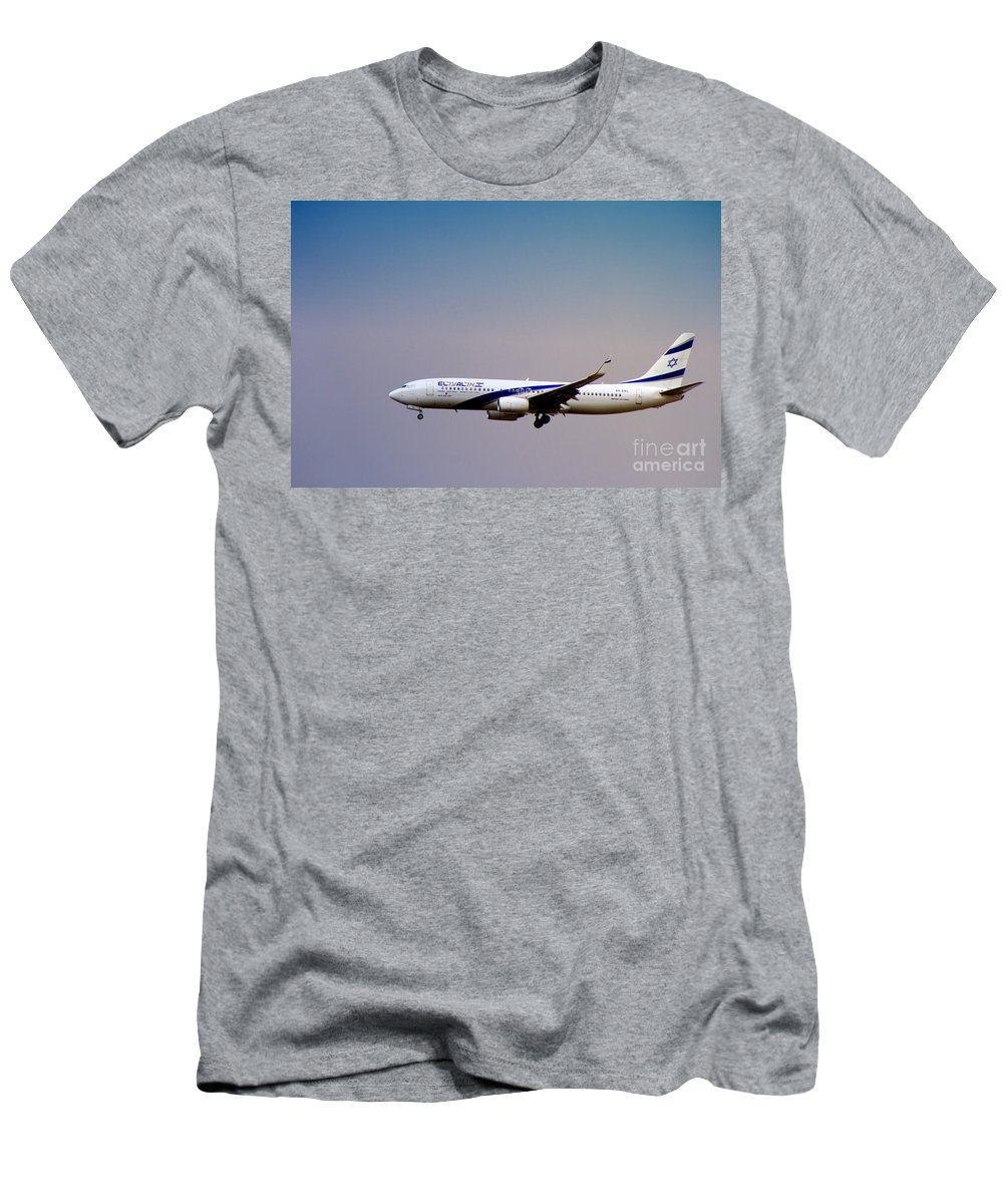 El Al Men's T-Shirt (Athletic Fit) featuring the photograph El Al Israeli Airlines by Doc Braham